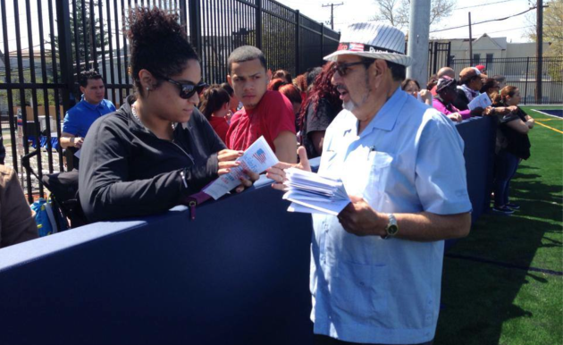 A Facebook photo of Jose Falto handing out literature prior to June 3's primary election. Falto challenged  District 6 incumbent Tilo Rivas and lost by a landslide.