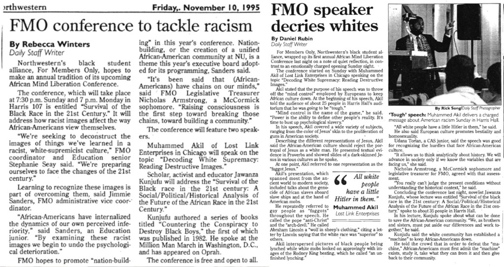 Press clippings from 1995 FMO conference