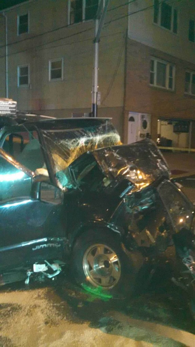 Photo of a Guttenberg car crash from 11/18/14, courtesy of the Hudson County Sheriff's Department.