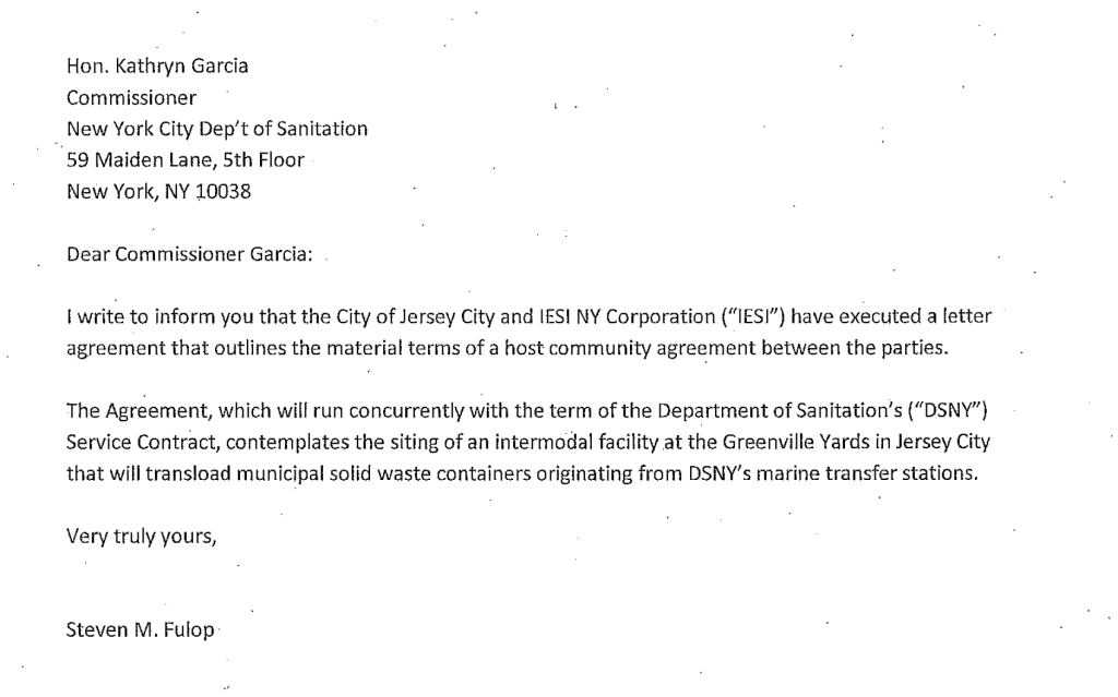 NYC DOS Letter Agenda