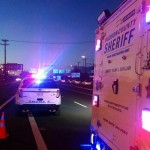 Motorcyclist in stable condition after sliding across 3 lanes of traffic in Secaucus