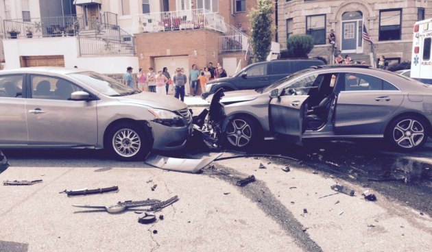 Photo of the crash in front of Charrito's in Weehawken via Twitter user atlatlone.
