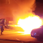 Kearny Fire Department extinguishes car fully engulfed in flames