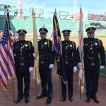 West New York Honor Guard presents American flag at Boston Red Sox game