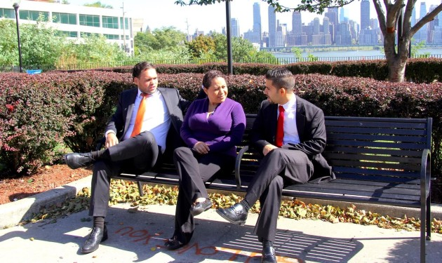 """The """"Children First"""" slate for the West New York Board of Education election: (Left to right) Jonathan Castaneda, Lorena Portillo and Almer Martins-Casadiego. Photo via Children First team."""