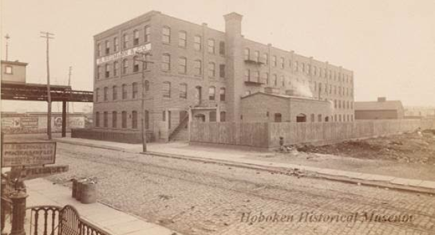 A vintage photo of the Neumann Leathers building, courtesy of the City of Hoboken.