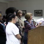 Dozens of county welfare workers storm freeholder meeting demanding changes