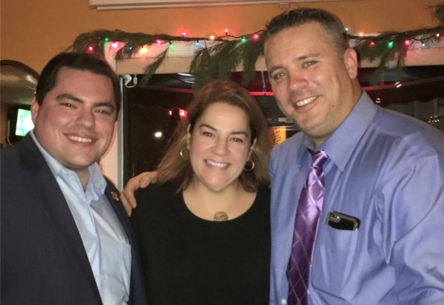Wayne Zitt, right, with West New York Commissioner Cosmo Cirillo and Assemblywoman Angelica Jimenez (D-32). Facebook photo.