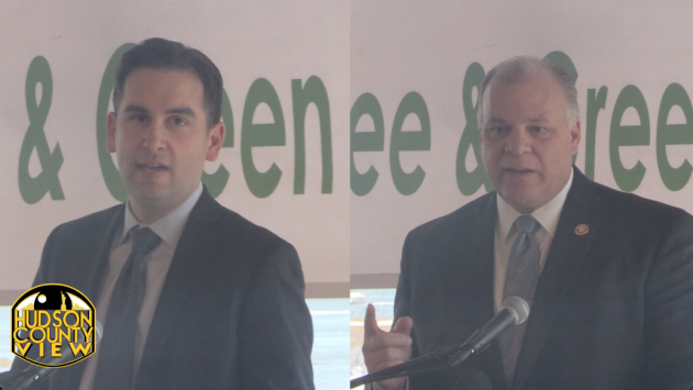 Jersey City Mayor Steven Fulop and Senate Pres. Steve Sweeney (D-3), respectively, speaking at Liberty House restaurant in January.