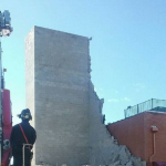 Construction building wall collapses from heavy winds in Bayonne