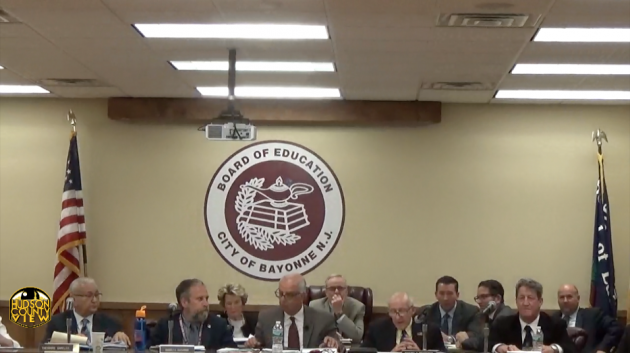 A photo of the Bayonne Board of Education taken from their meeting in May.