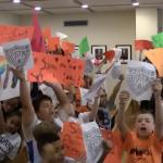 Davis, Chiaravalloti, Wilbeck, Torello and children rally for Bayonne P.A.L.