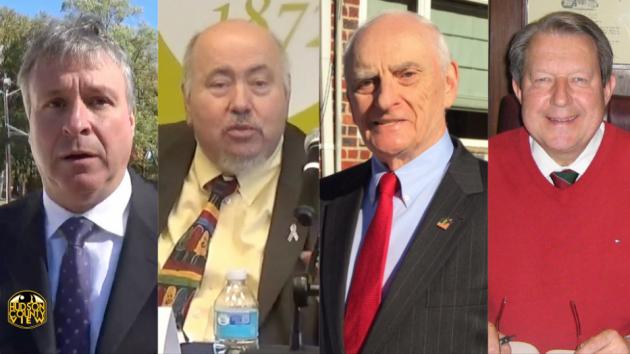 From left to right: Bayonne Mayors Jimmy Davis, Joe Doria, Richard Rutkowski and Leonard Kiczek.