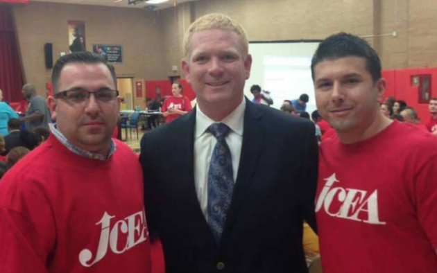 """JCDO Chairman Shawn """"Sully"""" Thomas-Sullivan, left, with JCEA President Ron Greco and his brother Mike Greco (right). Facebook photo."""