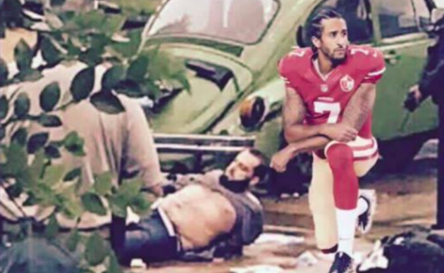 A Facebook photo from Jersey City BOE Vice President John Reichart that depicts NFL quarterback Colin Kaepernick kneeling next to bomb suspect Ahmad Khan Rahami.