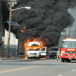 WATCH: Fire tears through unoccupied jitney bus in Bayonne