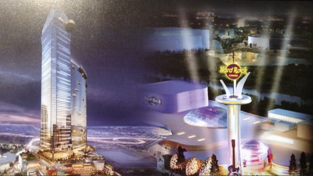 Artists renderings of what North Jersey casinos could potentially look like in Jersey City (left) and the Meadowlands. Photo via Our Turn NJ mailer.