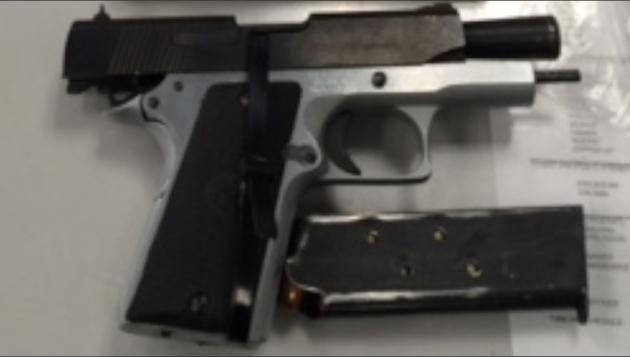 A .45 caliber semi-automatic pistol. Photo courtesy of Port Authority police.