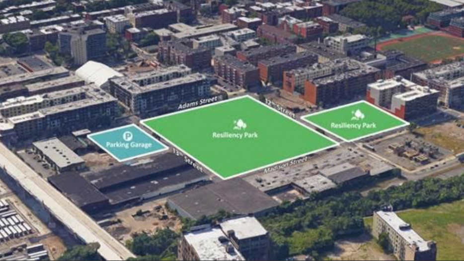 A rendering showing where the Northwest Resiliency Park will be built in Hoboken. Photo courtesy of the City of Hoboken.