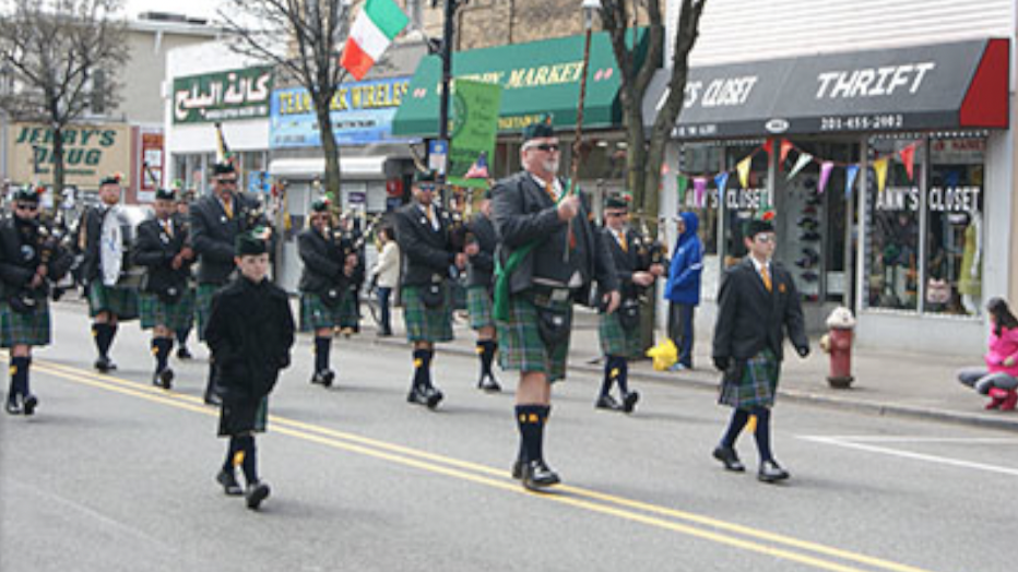 A file photo of the Bayonne St. Patrick's Day parade. Photo via bayonnenj.org.