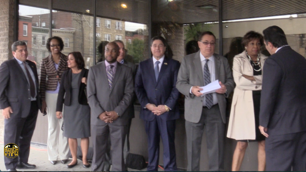 Assembly members Nick Chiaravalloti and Angela McKnight (far left) and state Senator Sandra Cunningham (far right, all D-31) will seek re-election together.