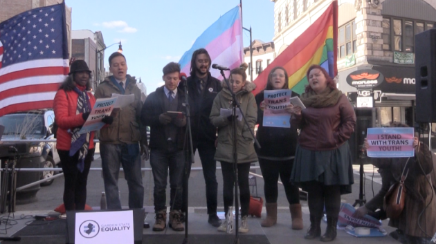 A choir performs at an LGBTQ rally in Jersey City last month after President Donald Trump revoked transgender bathroom rules.