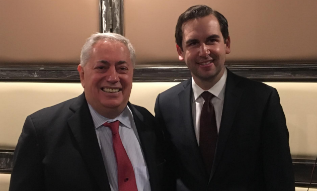 State Senator (D-32)/ North Bergen Mayor Nick Sacco (left) endorsed Jersey City Mayor Steven Fulop for re-election. Photo courtesy of the Fulop campaign.