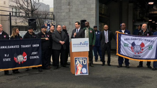 The Amalgamated Transit Union endorsed Jersey City Mayor Steven Fulop for re-election this morning. Photo courtesy of the Fulop campaign.