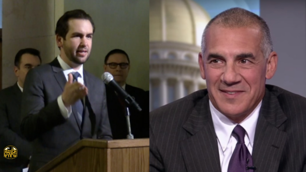 Jersey City Mayor Steven Fulop (left) and Assemblyman Jack Ciattarelli. Ciattarelli photo via NJTV.