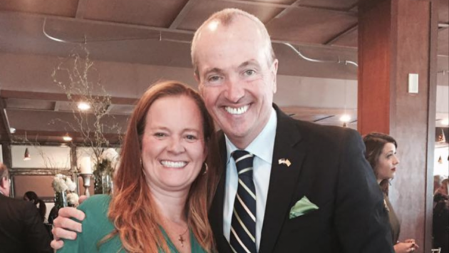 Assembly candidate Kristen Zadroga Hart (D-31) takes a picture with Democratic gubernatorial frontrunner Phil Murphy at a St. Patrick's Day event in Jersey City last month. Facebook photo.