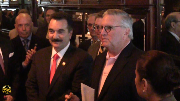 Assembly Speaker Vincent Prieto (D-32, left), also the chairman of the Hudson County Democratic Organization, and former state Senate Majority Leader Bernie Kenny during a May 2016 fundraiser for Assemblywoman Annette Chaparro (D-33).