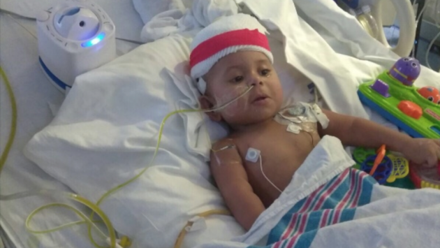 14-month old Weehawken native Franco Rojas needs an intestine transplant. Photo via GoFundMe.