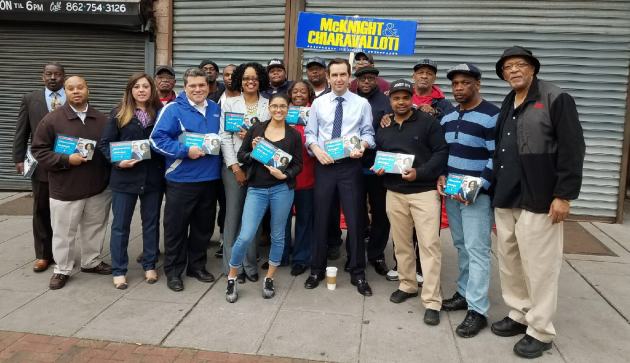 Jersey City Mayor Steven Fulop campaigned with LD-31 Assembly members Angela McKnight and Nick Chiaravalloti this morning. Photo via Twitter.