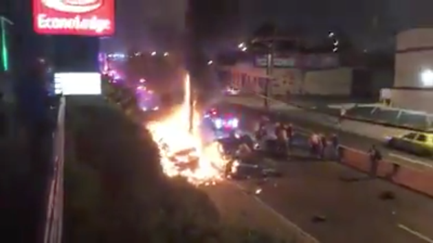 "A police chase ended in a fiery car crash in Jersey City last night. Screenshot via YouTube by user ""0and2pressure."""
