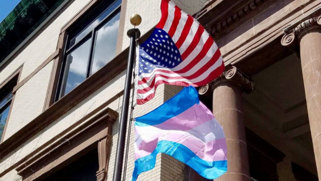 Hoboken flew the transgender flag today after President Donald Trump announced Transgender people would no longer be allowed to serve in the military. Photo via Twitter.
