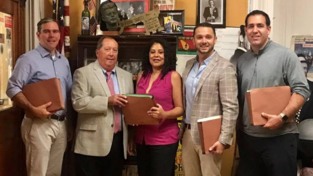 1st Ward Councilman Mike DeFusco's council-at-large slate filed their petitions for nomination today. From left to right: Michael Flett, Hoboken City Clerk James Farina, Vanessa Falco, DeFusco and Andrew Impastato. Photo courtesy of the DeFusco campaign.
