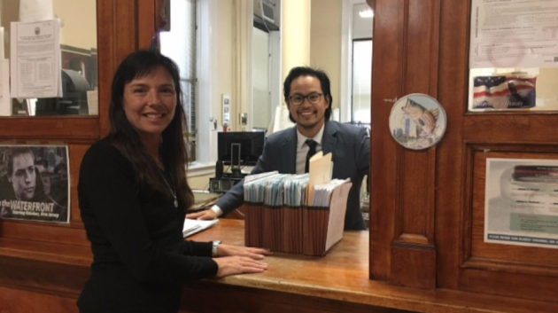 Hoboken Council President Jen Giattino submitting 1,759 petitions to the city clerk's office on behalf of her entire ticket. Photo courtesy of the Giattino campaign.