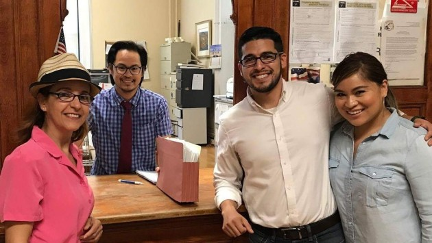 Ronald Bautista (second from right) filed 427 petitions for nomination for his mayoral run earlier today. Photo courtesy of the Bautista campaign.