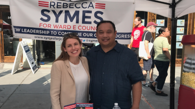 Jersey City Council President Rolando Lavarro is the latest to endorse Ward E council candidate Rebecca Symes. Photo courtesy of the Symes campaign.