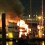 Jersey City, Bayonne, Hoboken, New York Fire Departments battle yacht fire