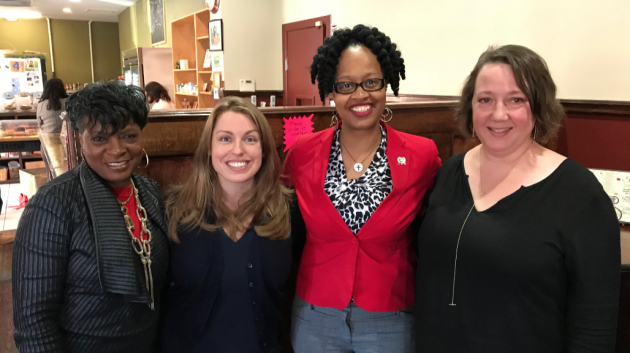 From left to right: Jersey City Councilwoman-at-Large Joyce Watterman, Ward E council candidate Rebecca Symes, Assemblywoman Angela McKnight (D-31) and Ward B council candidate Mira Prinz-Arey. Photo courtesy of the Symes campaign.