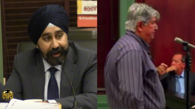 Hoboken Mayor Ravi Bhalla (left) is still fighting an ethics complaint filed by longtime antagonist Perry Belifiore over a council vote that occurred nearly eight years ago. Belifiore screenshot via Ustream.