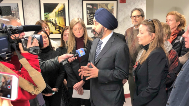 Hoboken Mayor Ravi Bhalla, joined by 2nd Ward Councilwoman Tiffanie Fisher, speaks to the media after this morning's NJ Transit board meeting was cancelled. Twitter photo
