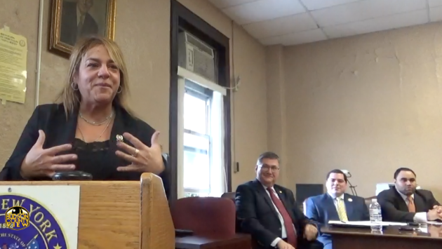 Assemblywoman Angelica Jimenez (D-32) speaking during West New York Commissioner Cosmo Cirillo's (second from right) swearing in on February 4th, 2015. Commissioner Gabriel Rodriguez on the far right.