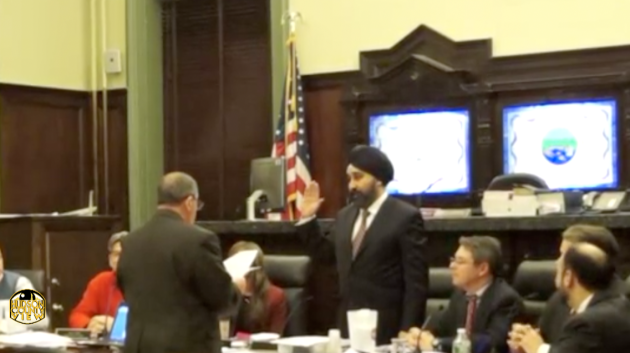 Hoboken Mayor Ravi Bhalla, then a councilman-at-Large, being sworn in as council president in 2015.