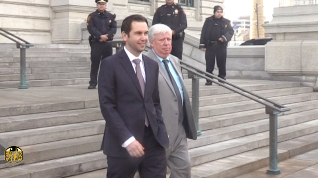 Jersey City Mayor Steven Fulop (left) leaving the old Hudson County Courthouse after Hudson County Executive Tom DeGise endorsed him for re-election on February 22, 2017.