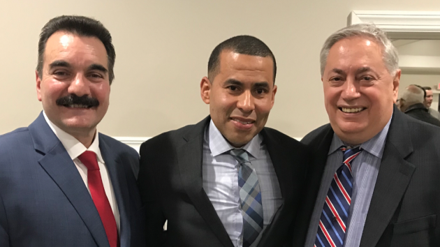 Former Assemblyman Vincent Prieto (D-32), his successor Pedro Mejia and state Senator (D-32)/North Bergen Mayor Nick Sacco. Photo courtesy of Vision Media.