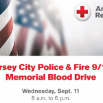 Jersey City police & fire team with Red Cross, Suburban Propane for 5th 9/11 blood drive