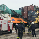 Bayonne firefighters rescue container lift operator who was trapped after industrial accident